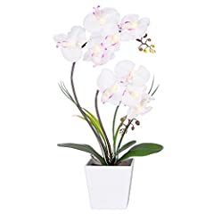 Idea Regalo - Homeseasons LED illuminato arrangement-battery Operated orchidea vaso di fiori artificiali con 9 luci