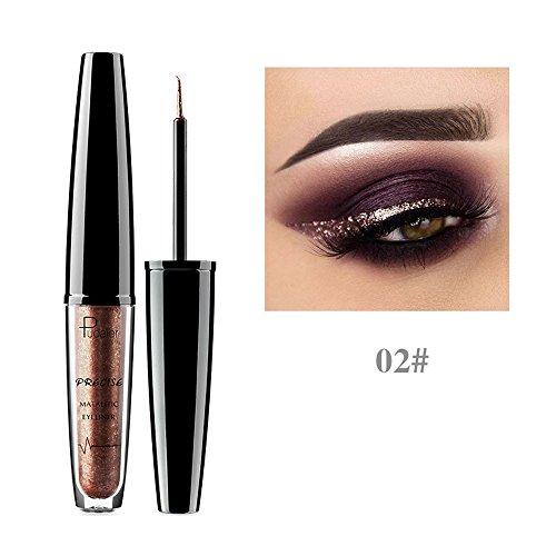 Syeytx Metallic Shiny Smoky Eyes Lidschatten Wasserdichter flüssiger Eyeliner mit glänzender Perle - Smoky Eye Pinsel