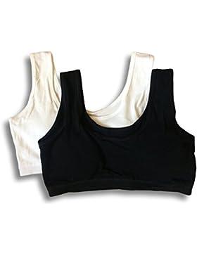 Top sujetador de algodón de las primeras adolescentes, paquete de 2. Ajuste 9-16 años
