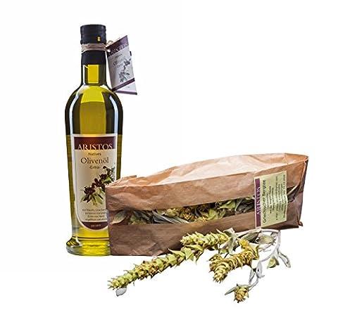 ARISTOS Set 500ml extra natives kaltgepresstes sortenreines naturtrübes Koroneiki Olivenöl + Griechischer Bergtee Sideritis Scardica 25g | direkt vom Erzeuger | vegetarisch + vegan | 2tlg