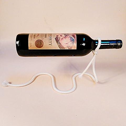 Chezmax Creative suspendu en métal simple Bouteille de Vin de table flottant Blance Vin support Rack, Motif 7, 1 Piece