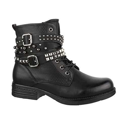 Elara Damen Frühling Stiefelette | Biker Boots | Trendy Lederoptik | Chunkyrayan 88002-Black-37
