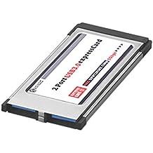 Sienoc USB 3.0Super Speed PCMCIA tarjeta Express Card (34mm/2puerto/Windows 7+ Windows 8+ Windows 8.1Compatible) para ordenador portátil modelo spécifiés | Hub USB interno