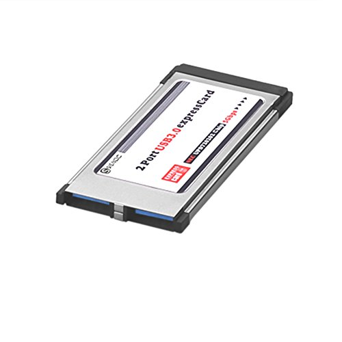 Sienoc USB 3.0 Super Speed PCMCIA Express Card Karte (34mm / 2 Port / Windows 7 + Windows 8 + Windows 8.1 kompatibel) für Notebook Laptop | spezifiziertes Modell | USB Hub intern