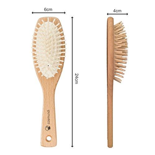 cosmundi vegane Haarbürste mit Echtholzstiften zur Kopfmassage in kunststoffreier Verpackung - hergestellt in Deutschland - 3