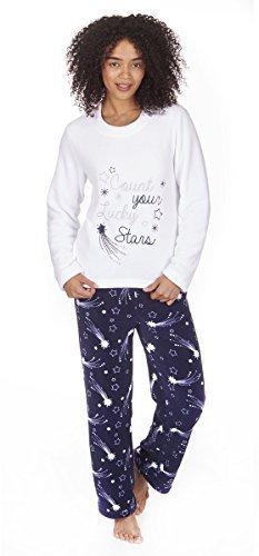 Femmes Forever Dreaming étoile ou Manchot Pyjama Ensemble Haut et Bas Blanc Etoile