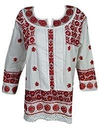 f28e8e61f09 Woman's Bohemian Tunic Cotton Floral Chikan Embroidered Top Blouse Dress