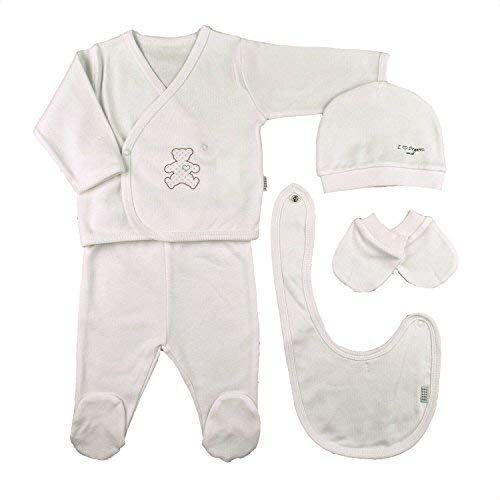 Sevira Kids Coffret Naissance en 100% Coton Bio - vêtements Bébé 5 pièces Organic (Écru)