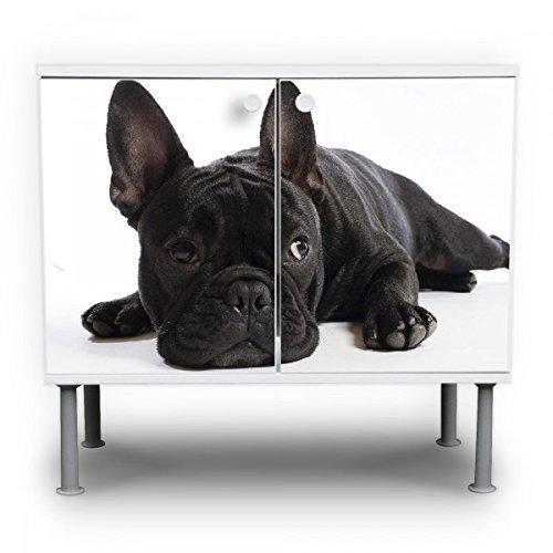 #banjado – Badunterschrank 60x55x35cm Design Waschbeckenunterschrank mit Motiv Bulldogge#