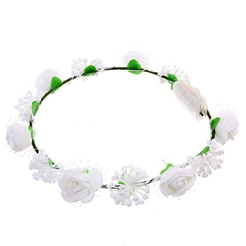 Frcolor Leuchten Blume Kronen Stirnband für Hochzeit Weihnachten Halloween Party (weiß)