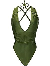 Vandot Sexy Strand Damen Frauen Push Up Gepolstert Neckholder Bikini Sets Bandage Tankini Design Bademode Beachwear Badeanzug One Piece Swimsuit Tankini High Waist Hohe Taille Jumpsuit