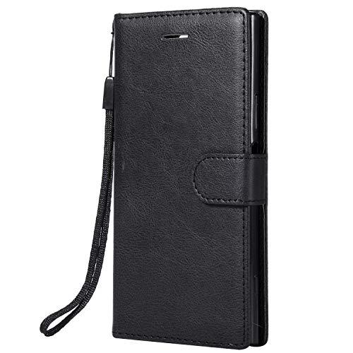 NEXCURIO Sony Xperia XZ1 Hülle Leder, Handyhülle Tasche Leder Flip Case Brieftasche Etui mit Kartenfach Stoßfest Kratzfest Schutzhülle für Sony Xperia XZ1 - NEKTU13548 Schwarz