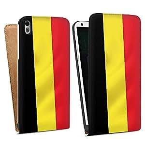 HTC Desire 816G Tasche Hülle Flip Case Belgien Flagge Belgium Fahne