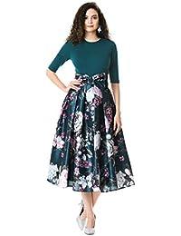 dc9e48fb5db47 eShakti Women's Floral print dupioni and cotton knit dress