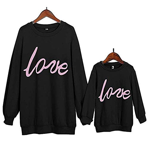 Mom-kinder Sweatshirt (Mom/Dad Tochter Kleidung, Mutter Daughter Pullover Bluse Love Printed Langarm-Pullover Shirt Frauen und Baby Family Kleidung (Schwarz & Tochter, 3 Jahre (100)))