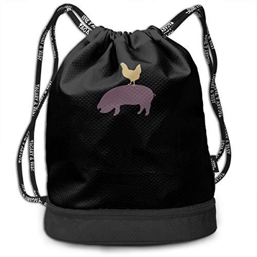 KLing Cow Pig Chicken Rucksack mit Kordelzug für Herren und Damen, 100% Polyester, strapazierfähige Seesäcke