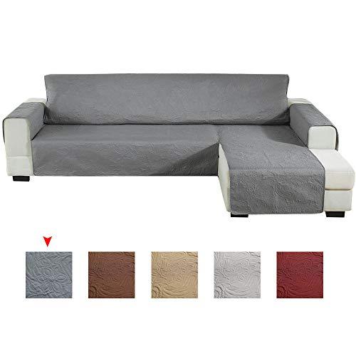 Enjoygoeu copridivano con penisola impermeabile,sofa cover salvadivano angolare con goffratura,a forma di l a sinistra o destra,adatto per cani gatti,240x270cm (scuro grigio, destra)