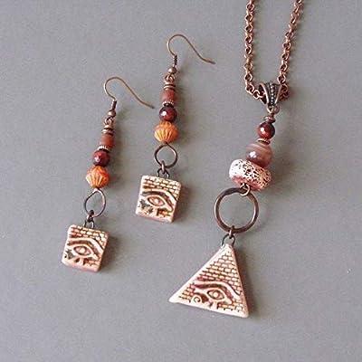Bijoux Egyptien, Oeil d'Horus, Amulette de Protection, Boucles d'Oreilles Egyptienne, Egypte Antique, Collier Oeil de Ra, Mauvais Oeil
