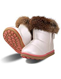 Botas de Nieve para Niñas Impermeable Calentar Zapatos de Invierno para Niñas Cuero de la PU Algodón