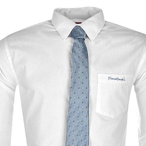 Chemise avec Cravate PIERRE CARDIN pour Homme Neuve Blanche ou Bleue Unie Blanc