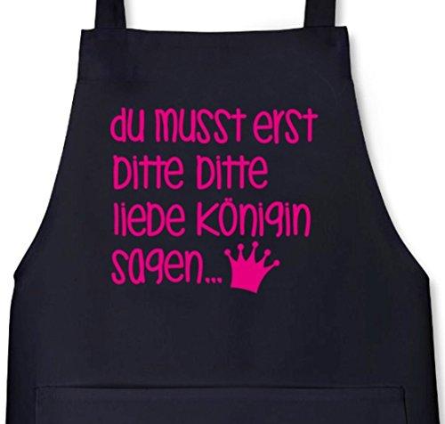Shirtstreet24, Bitte bitte liebe Königin, Grillen Barbecue Grill Schürze Kochschürze Latzschürze, Größe: onesize,Schwarz -