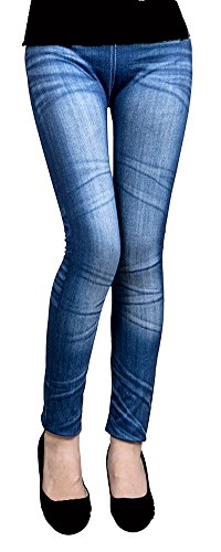 Thermo Fleece Leggings in Jeans Loock Optik Super Stretch Weich Warm (Blau 03) - Fleece Leggings