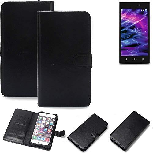 K-S-Trade® Wallet Case Handyhülle Für Medion Life E5005 Schutz Hülle Smartphone Flip Cover Flipstyle Tasche Schutzhülle Flipcover Slim Bumper Schwarz, 1x