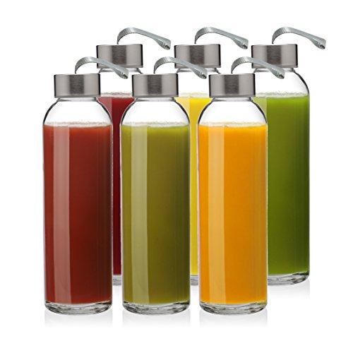 6Pack-Glas Wasser Flaschen mit 18oz Kapazität, vom Kombucha, Smoothies, Saft, wiederverwendbar, von California Home Waren (E-saft-flasche Etiketten)