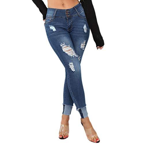 Produp Damen Sexy Slim Fit Übergrößen Jeans Elastic Denim Taschenknopf Casual Boot Cut Hosen -