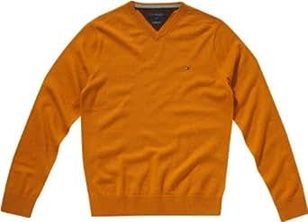 Tommy Hilfiger Herren Pullover LAMBSWOOL V-NK CF / 857820938, Gr. 54 (XL), Orange (286 HONEY HTR)