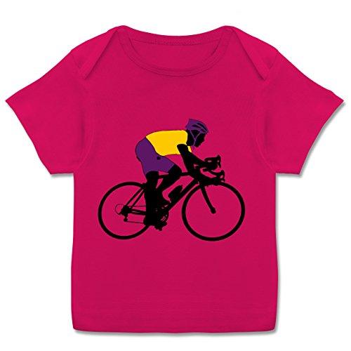 Sport Baby - Rennrad Triathlon - 56-62 (2-3 Monate) - Fuchsia - E110B - Kurzarm Baby-Shirt für Jungen und Mädchen