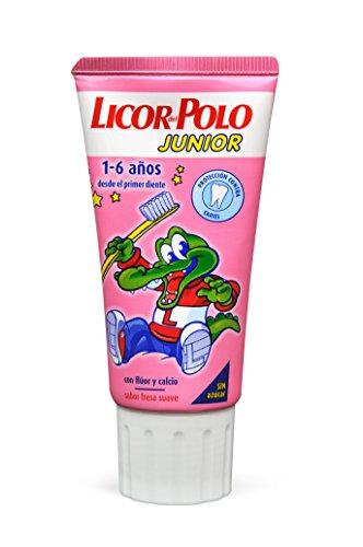 Licor del Polo Junior - Dentífrico con flúor y calcio, para 1-6 años con sabor fresa suave, 50 ml
