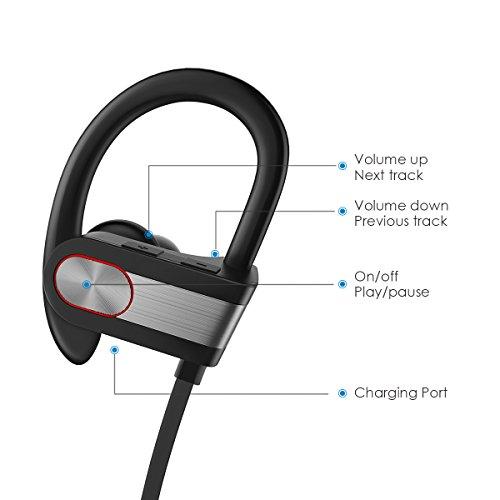 Honstek H9 drahtlose Bluetooth 4.1 Sport Kopfhörer / Headsets / Ohrhörer / Kopfhörer mit Mikrofon für Gym, Rennen, Jogger, Wandern, Übung für iPhone, Samsung, Galaxy, Android Handys, Bluetooth Smart TV (Schwarz/Grau) - 5