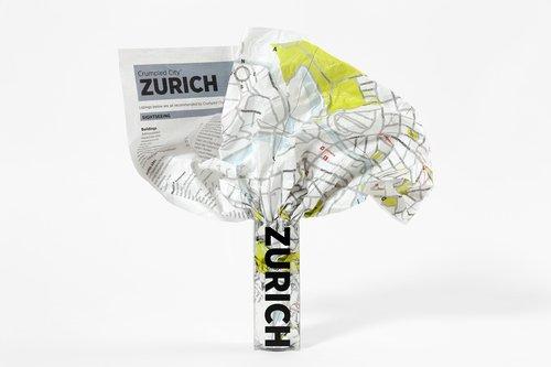 Crumpled City Zürich (internationale Ausgabe des Stadtplans Zürich in englischer Sprache): Die cleveren Stadtpläne für Großstadtnomaden (Crumpled City Maps) (Zürich Karte)