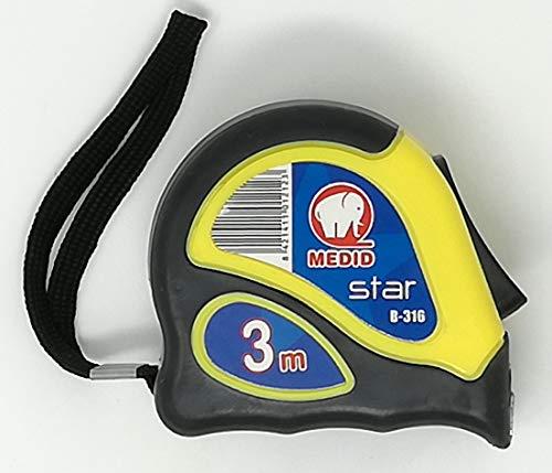 Medid MD/B316 Flexómetro STAR con estuche bimaterial, con freno y clip, 3 m x 16 mm