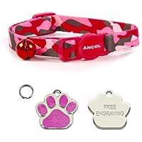 Ancol Gato camuflaje rosa cuello de liberación rápida con forma de purpurina de huellas de grabado gato etiqueta de identificación.