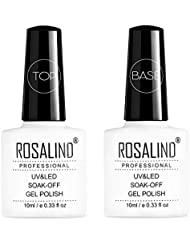 ROSALIND Vernis Semi Permanent Base et Top Coat 10ml à Ongles Nail Art Design Soak Off Gel Manucure Salon