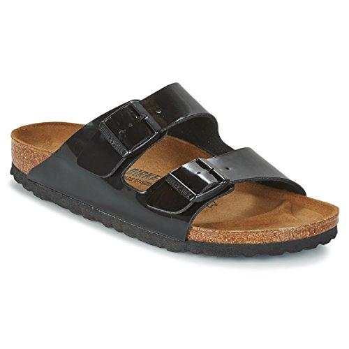 Birkenstock Womens Arizona Black Patent Synthetic Sandals 35 EU Birkenstock Clog Black Suede