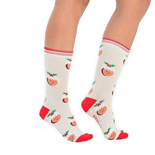 Festive Feet Damen Neuheit Weihnachten Socken Größe 4–8EU 37–42Weihnachts CHRISTMAS (Kostüm Christmas Pudding)