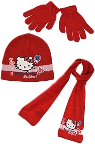 Mädchen Hallo Kitty Hat Schal und Handschuhe Set (52 CM, Rot II) (Kitty Hallo Mädchen Für)