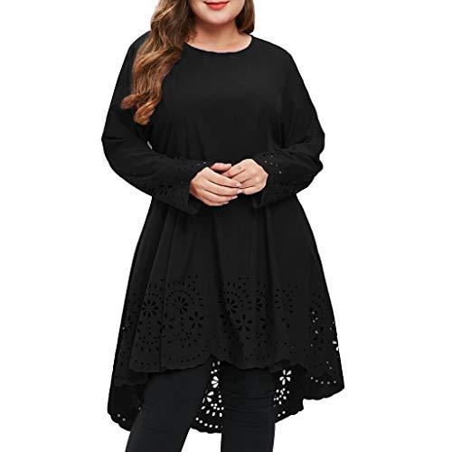 ESAILQ Damen Kleider Frau Mode O-Neck Langarm Plus GrößE Laser Geschnitten Hoch Niedrig AushöHlen Kleid(XXXXX-Large,Schwarz)