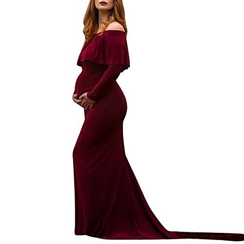 Frauen Schwangerschaftskleid, Damen Spitzenkleid Schulterfreies Kleid Fotografie Kleidung Maxikleid Frauen Schwangere Sexy Fotografie Requisiten Off Schultern Rüschen Nursing Langes Kleid(L,Lila