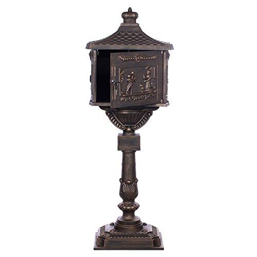 Antiker großer und sehr edler Briefkasten GLY 05 Bronze Standbriefkasten, Säulenbriefkasten, Nostalgischer Englischer Briefkasten Alu – Guss 116 cm hoch . Mit riesigem Postfach für mehr Volumen. - 2