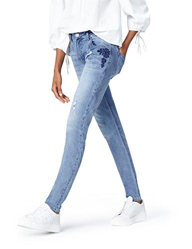 find. Damen Bestickte Slim-Fit Jeans, Blau (Denim), W28/L32 (Herstellergröße: 36)