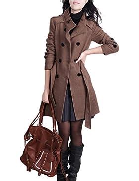 YOUJIA - Chaqueta largo para Mujer - Abrigo de Doble Abotonadura Gabardina con Cinturón y Bolsillos