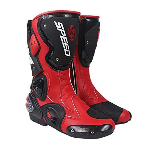 Stivali da Moto 4 Stagioni Scarpe da Ciclismo su Strada Slittata Protezione Completa Sci di Fondo Stivali Anti-Collisione,Black/Red-UK7.5/EUP42