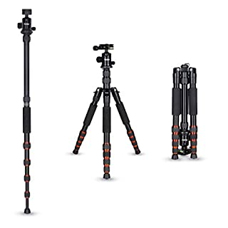 Rollei Aluminium traveler tripod in black with ball head - compatible with DSLR & DSLM cameras - incl. monopod, Acra Swiss quick release plate & tripod bag