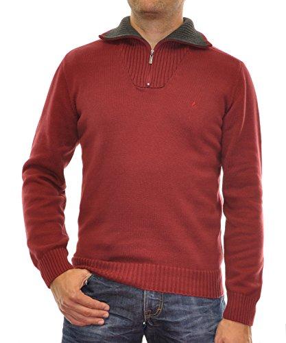 RAGMAN Herren RAGMAN Pullover Troyer Uni Weinrot-061