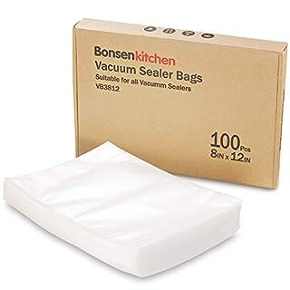 Bonsenkitchen Sacs sous Vide Gaufrés BPA Free Quart Format standard 20 x 30 cm pour la conservation des aliments et la cuisson sous vide, 100 sachets, VB3812