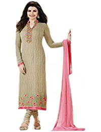 Vinay TM Women's Georgette Dress Material (3212_Free Size_Chickoo)